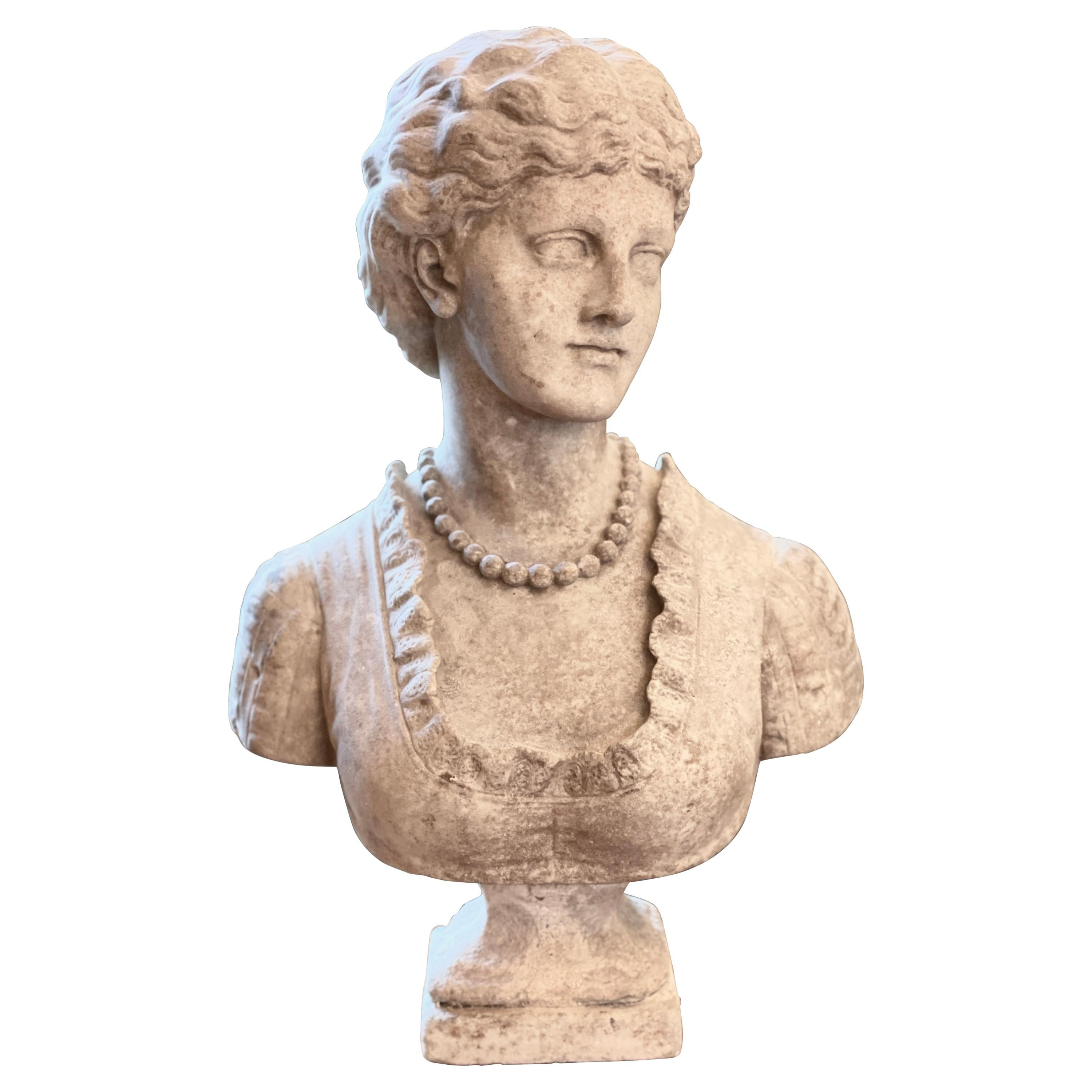 19th Century Weathered Marble Bust by Henry Garland RA