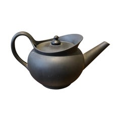 19th Century Wedgwood Basalt Teapot with Handle, Marked