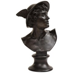 19th Century Wedgwood, Black Basalt Bust of Mercury