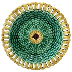 19th Century Wedgwood Majolica Reticulated and Basketweave Plate