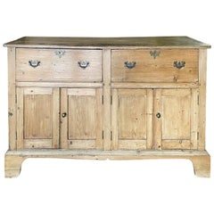 19th Century Welsh Pine Dresser Base with 4 Doors, 2 Drawers