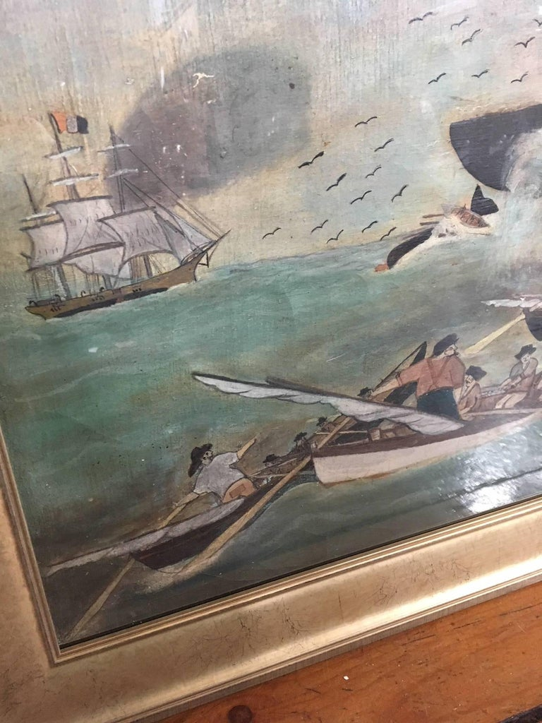 19th century Whaling Panorama, circa 1890, an oil on canvas view of whaling in the South Seas, with six boats lowered and three sperm whales in a flurry, three boats in peril and a close-up view of the whalemen. The painting is unusual in having