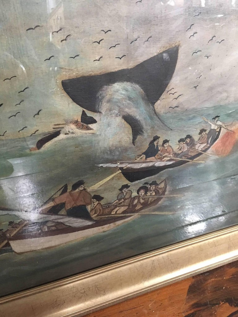 Folk Art 19th Century Whaling Panorama, circa 1890 For Sale