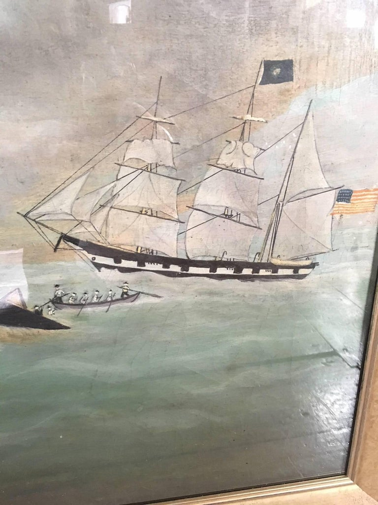 Hand-Painted 19th Century Whaling Panorama, circa 1890 For Sale