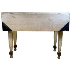 19th Century White and Black Painted Drop-Leaf Table