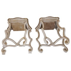 Pair White And Golded Leaf Bedsides Venice 1850 1870
