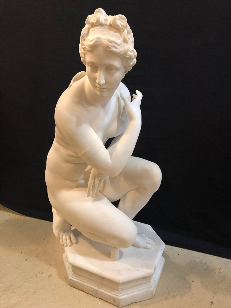 Belle Époque 19th Century White Carrara Marble of a Nude Life Size Figure Kneeling For Sale