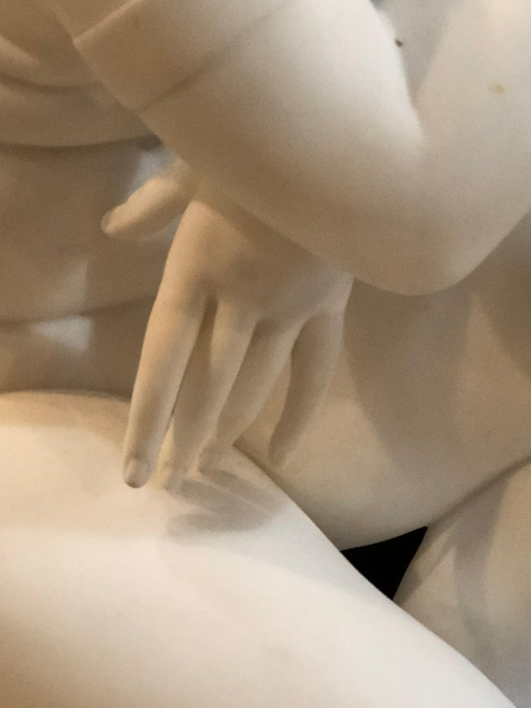 19th Century White Carrara Marble of a Nude Life Size Figure Kneeling In Good Condition For Sale In Stamford, CT