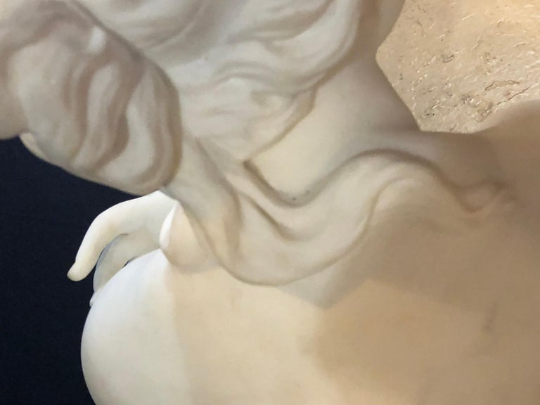 19th Century White Carrara Marble of a Nude Life Size Figure Kneeling For Sale 3