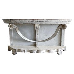 19th Century White-Grey French Demi-Lune Oakwood Console Table