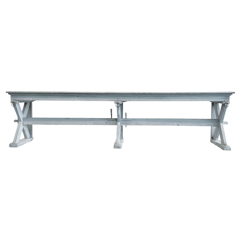 19th Century White-Grey French Oakwood Trestle Console Table