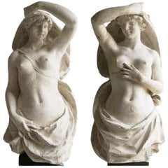 19th Century White-Grey French Plaster Pair of Parisian Karyatides