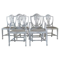 19th Century White-Grey Swedish Gustavian Set of Six Dining Chairs