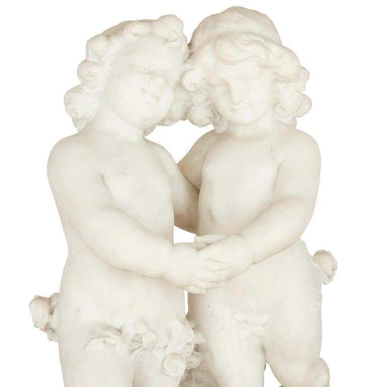 French 19th Century White Marble Group of Two Cherubs by A. Duché For Sale