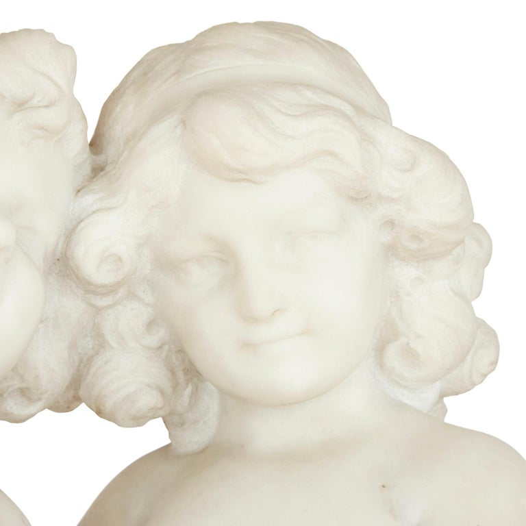 19th Century White Marble Group of Two Cherubs by A. Duché In Good Condition For Sale In London, GB