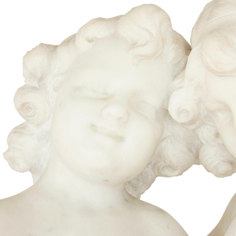 Carrara Marble 19th Century White Marble Group of Two Cherubs by A. Duché For Sale