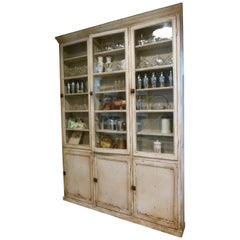 19th Century White Patinated Spanish Glass Front Apothecary Cabinet