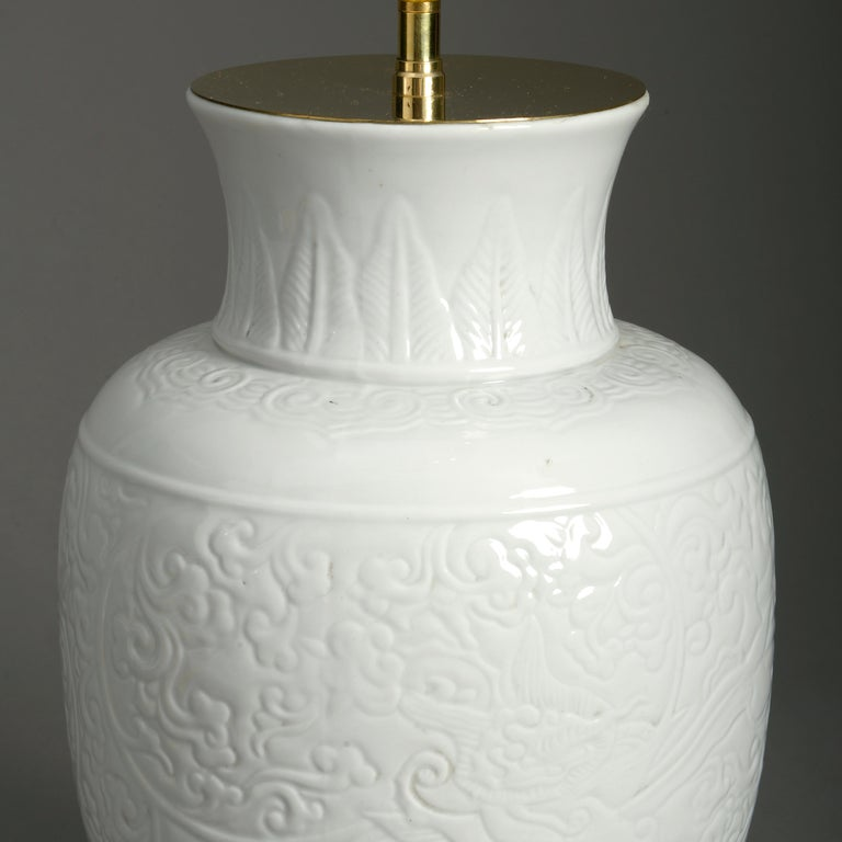 Chinese Export 19th Century White Porcelain Vase Lamp For Sale