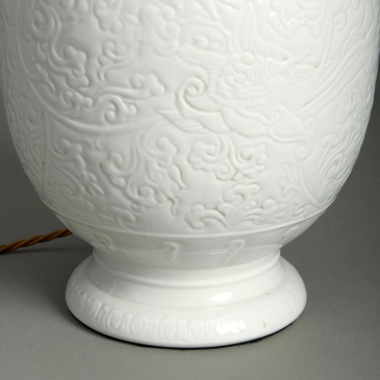 Chinese 19th Century White Porcelain Vase Lamp For Sale