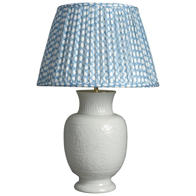 19th Century White Porcelain Vase Lamp For Sale