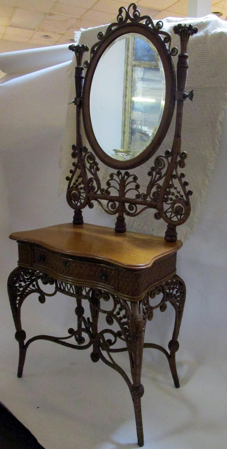19th Century Wicker Dressing Stand Vanity Heywood Brothers