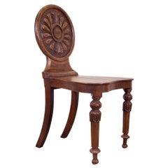 19th Century William IV Elm and Burr Elm Hall Chair