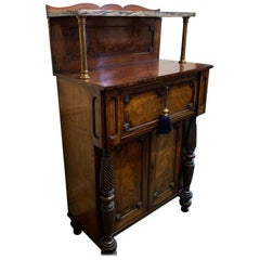 19th Century William IV Mahogany Chiffonier with Two Hidden Drawer Slides