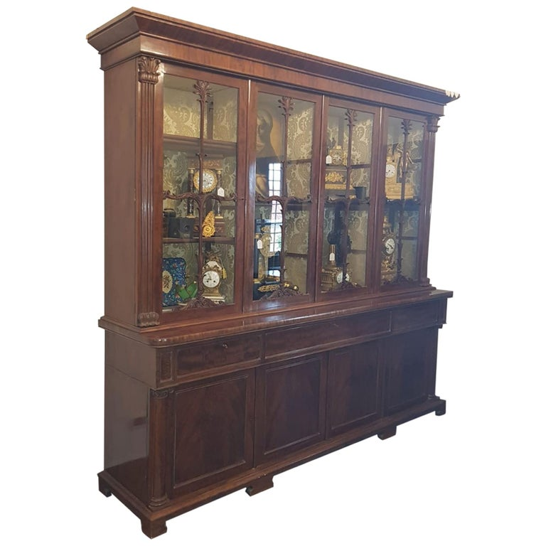 19th Century William IV Wood Mahogany Bookcase Secretaire, 1830s For Sale