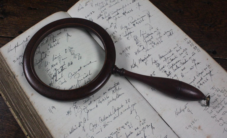 19th Century William the IV Mahogany Connoisseur Gallery Magnifying Lens For Sale 1
