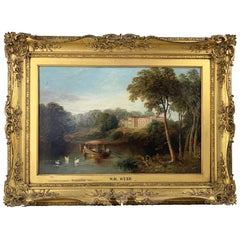 19th Century William Webb Oil Painting on Canvas Landscape