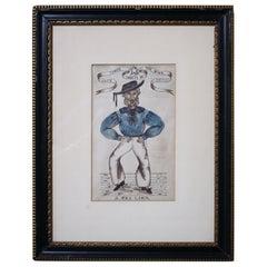19th Century William Wilson, Sailors Folk Art Sketches Maritime Interest