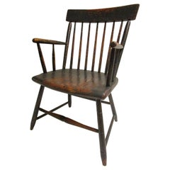 19th Century Windsor Armchair in Petite Size with Original Milk Paint