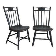 19th Century Windsor Children's Chairs in Black Painted Surface, Pair