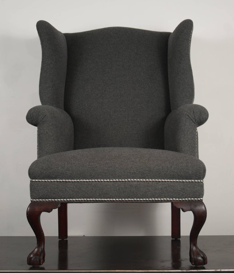 Upholstery 19th Century Wingback Chairs in Cashmere/Wool Blend For Sale