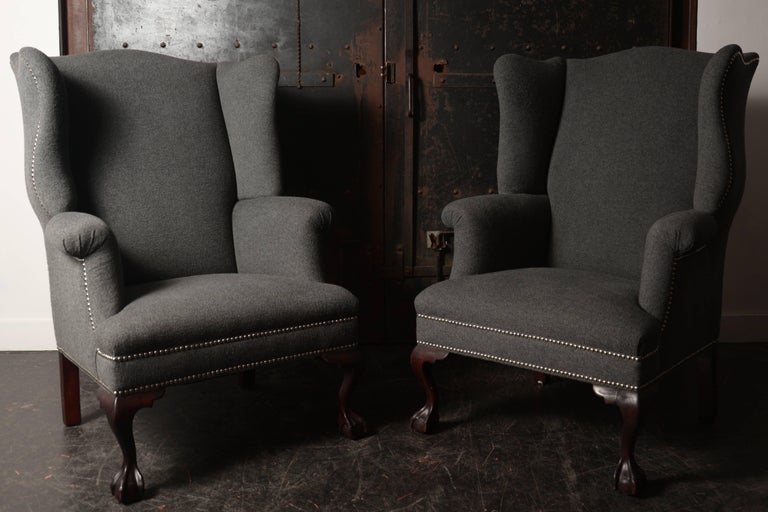19th Century Wingback Chairs in Cashmere/Wool Blend For Sale 1