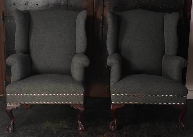 19th Century Wingback Chairs in Cashmere/Wool Blend For Sale 2