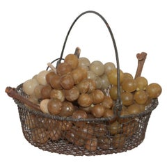 19th Century Wire Basket with Collection of Alabaster Grapes