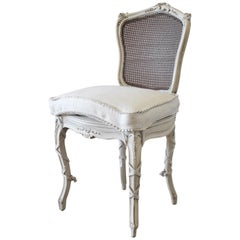 19th Century Wood and Cane Back French Country Style Vanity Chair