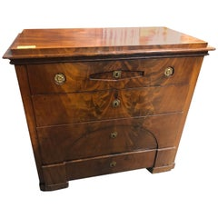 19th Century Wood Biedermeier Mahogany Chest of Drawers Secretaire, 1860s