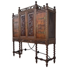19th Century Wood Carved Cupboard, Cabinet on Stand with Iron Stretcher