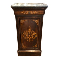 19th Century Wood Charles X Rosewood Inlay Center Nightstand Top Marble, 1820s