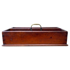 19th Century Wood Cutlery Tray / Box with Brass Handle