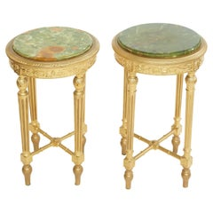 19th Century Wood Framed / Onyx Top Side Tables