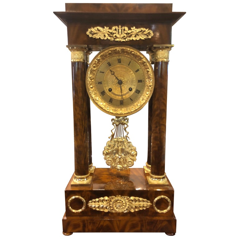 19th Century Wood French Louis Philippe Mahogany Gilt Bronze For Sale