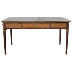 19th Century Wood Inlay Louis XVI Style Leather Top Desk