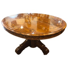 19th Century Wood Louis Philippe Walnut Inlaid Table, 1840s