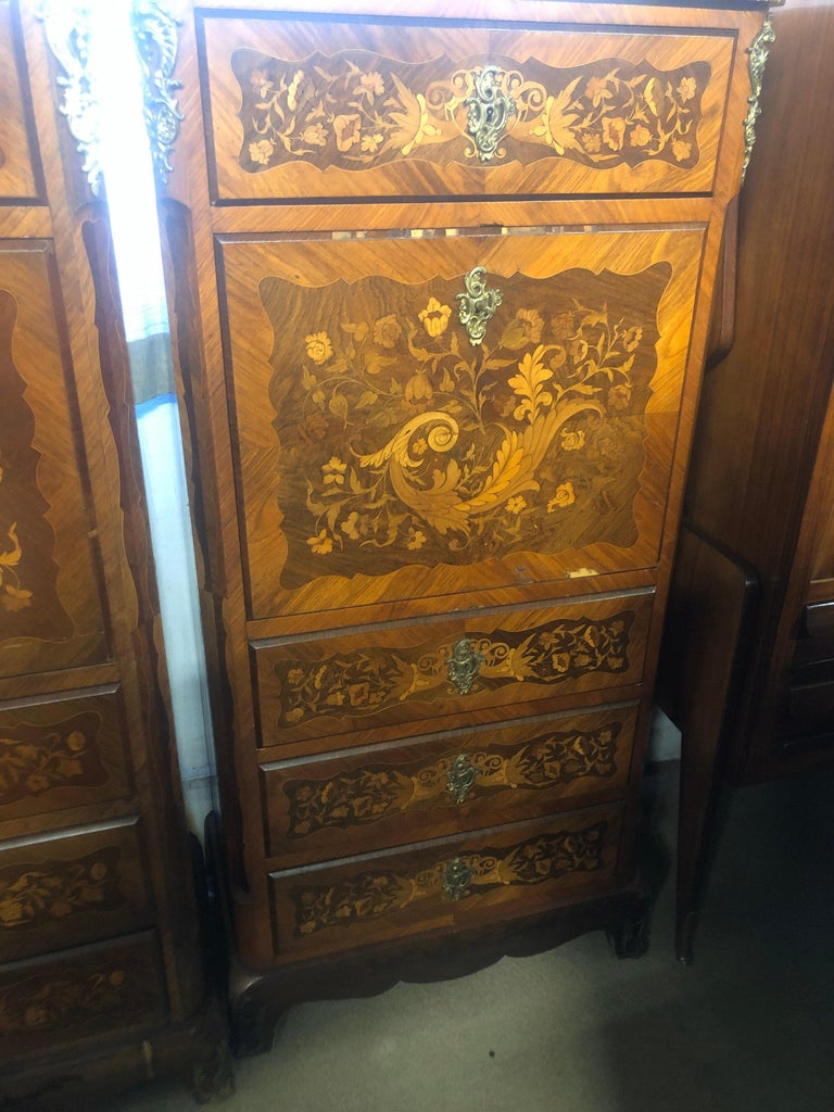 French 19th Century Wood Louis XVI Revival Rosewood Pair of France Secretaire, 1880s For Sale