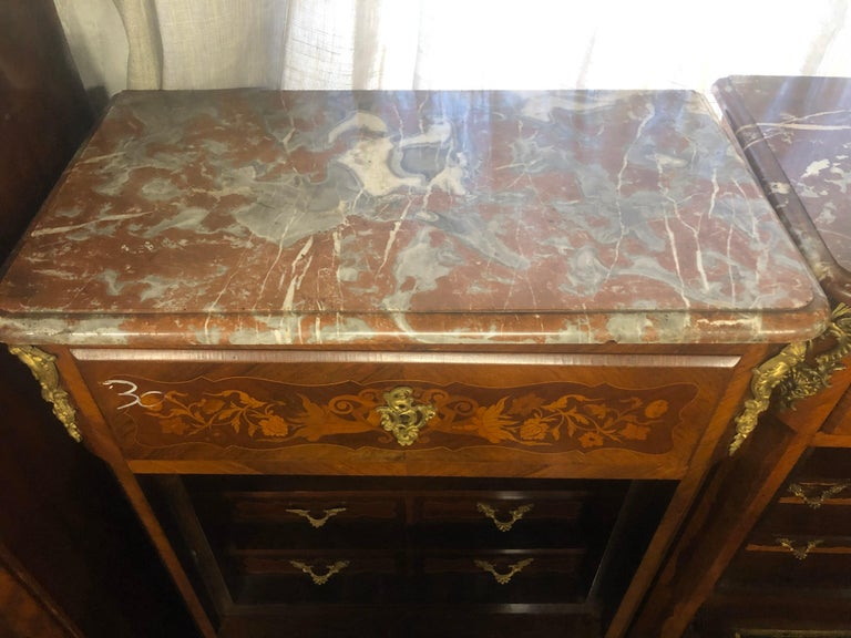 Kingwood 19th Century Wood Louis XVI Revival Rosewood Pair of France Secretaire, 1880s For Sale