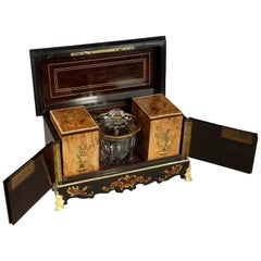 19th Century Wood Marquetry Tea Caddy