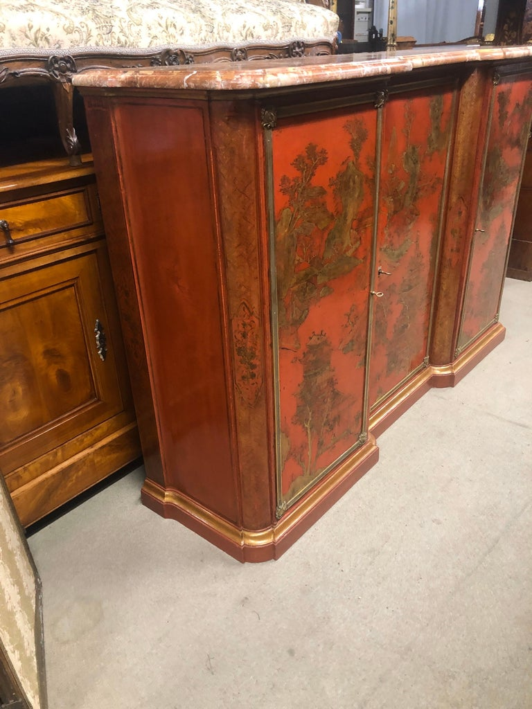 19th Century Wood Painted Gold Napoleon III Chinoiserie with Marble, 1860s For Sale 2